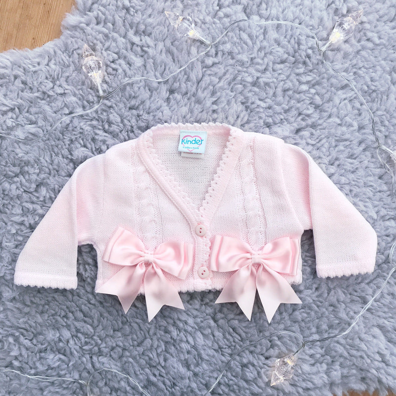 Kinder Satin Bow Cardigan | Millie and John