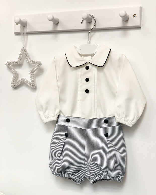 "Little Nosh ""Sebastian"" Navy Striped Jam Pants & Shirt 