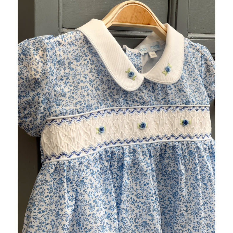 "Mini-la-Mode ""Shirley"" Blue Floral Smocked Dress 