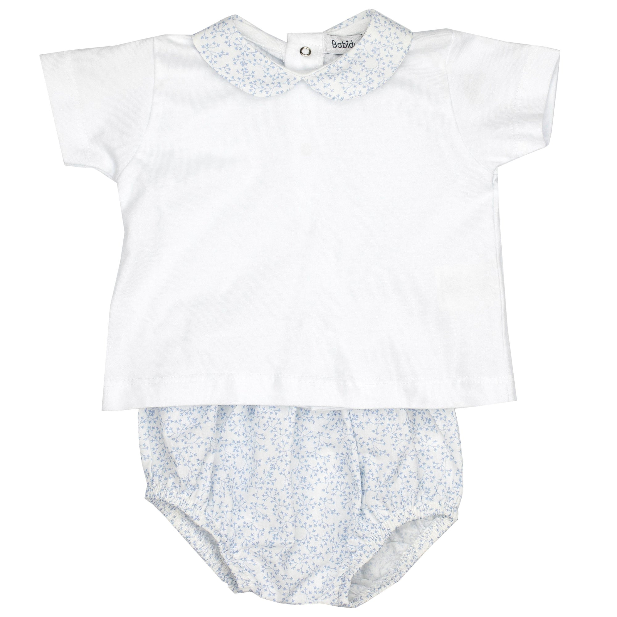 Babidu Sky Blue Floral T-Shirt & Bloomers | Millie and John