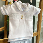 Rock a Bye Baby Boutique Smocked Teddy Bear T-Shirt & Shorts | Millie and John