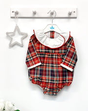 "Sardon ""Sonia"" Red Tartan Ruffle Romper 