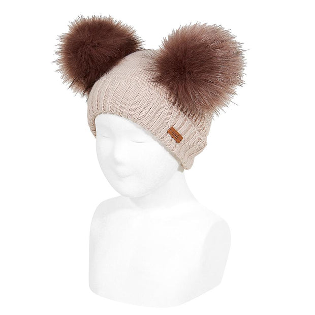 Condor Stone Faux Fur Double Pom Pom Hat | Millie and John