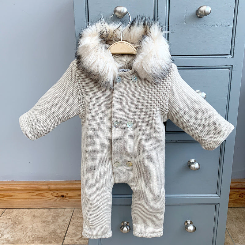 Mebi Stone Knitted Footless Pramsuit with Faux Fur Trim | Millie and John