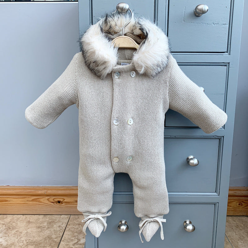 Stone Knitted Pramsuit with Faux Fur Trim
