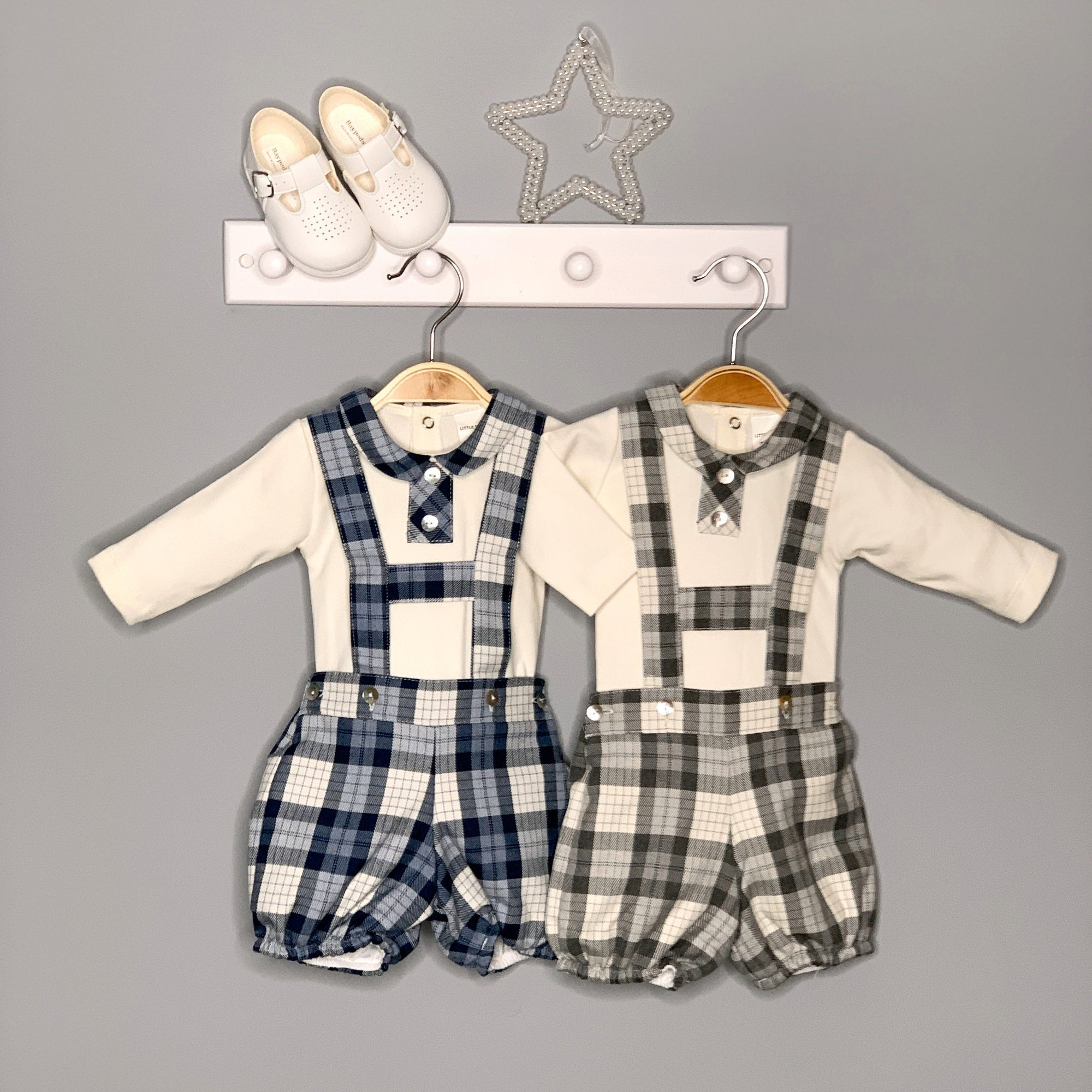 Little Nosh Tartan H-Bar Shorts & Shirt | Millie and John