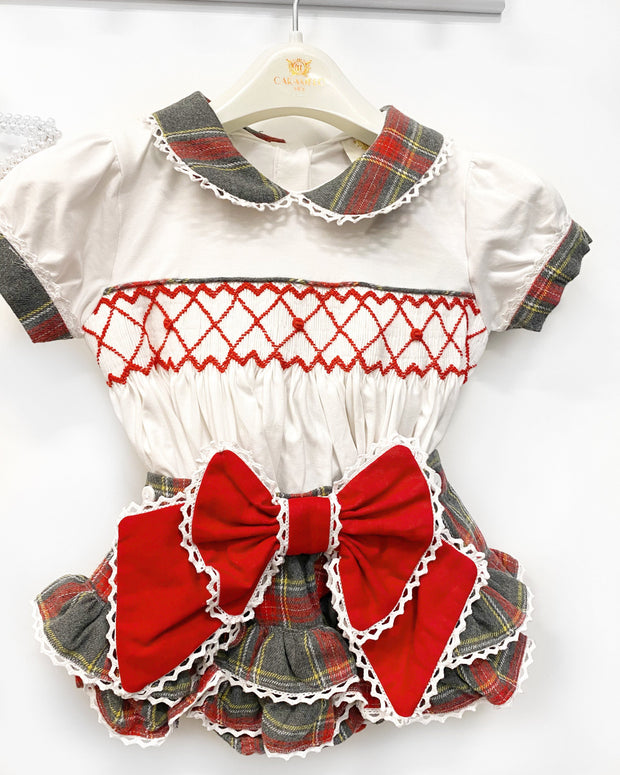 Caramelo Kids Tartan Smocked Blouse & Bloomers | Millie and John