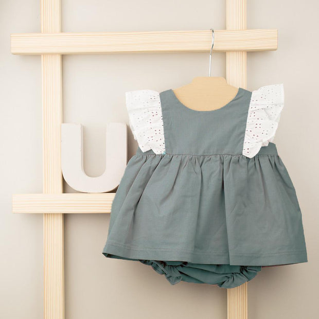 Babidu Teal Broderie Anglaise Ruffle Shoulder Dress & Knickers | Millie and John