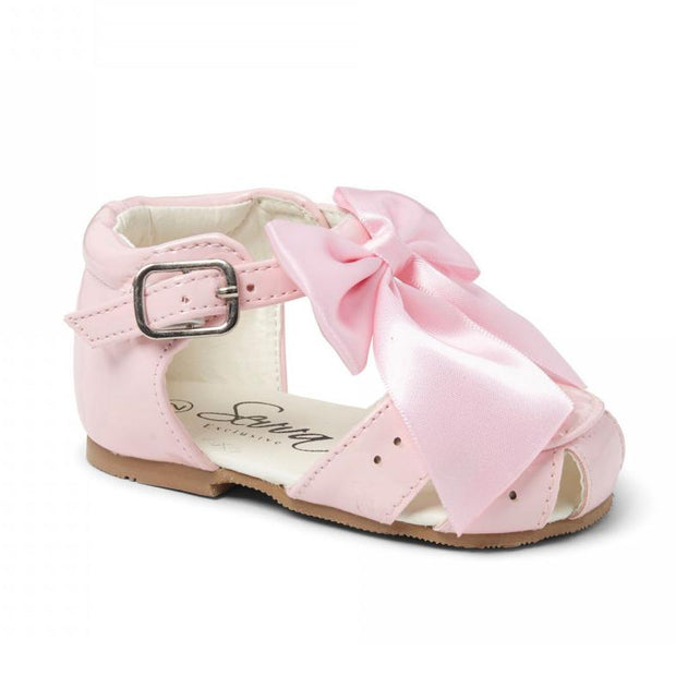"Sevva ""Terri"" Pink Patent Hard Sole Bow Sandals 