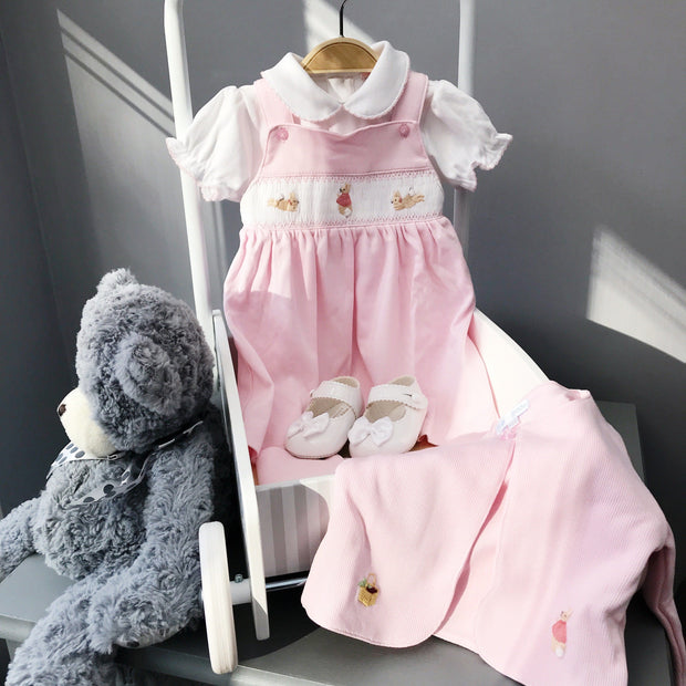 Mini-la-Mode The Flopsy Bunnies Pink Smocked Pinafore Dress | Millie and John