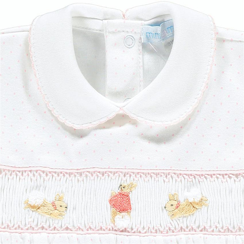 Mini-la-Mode The Flopsy Bunnies White & Pink Polka Dot Smocked Romper | Millie and John