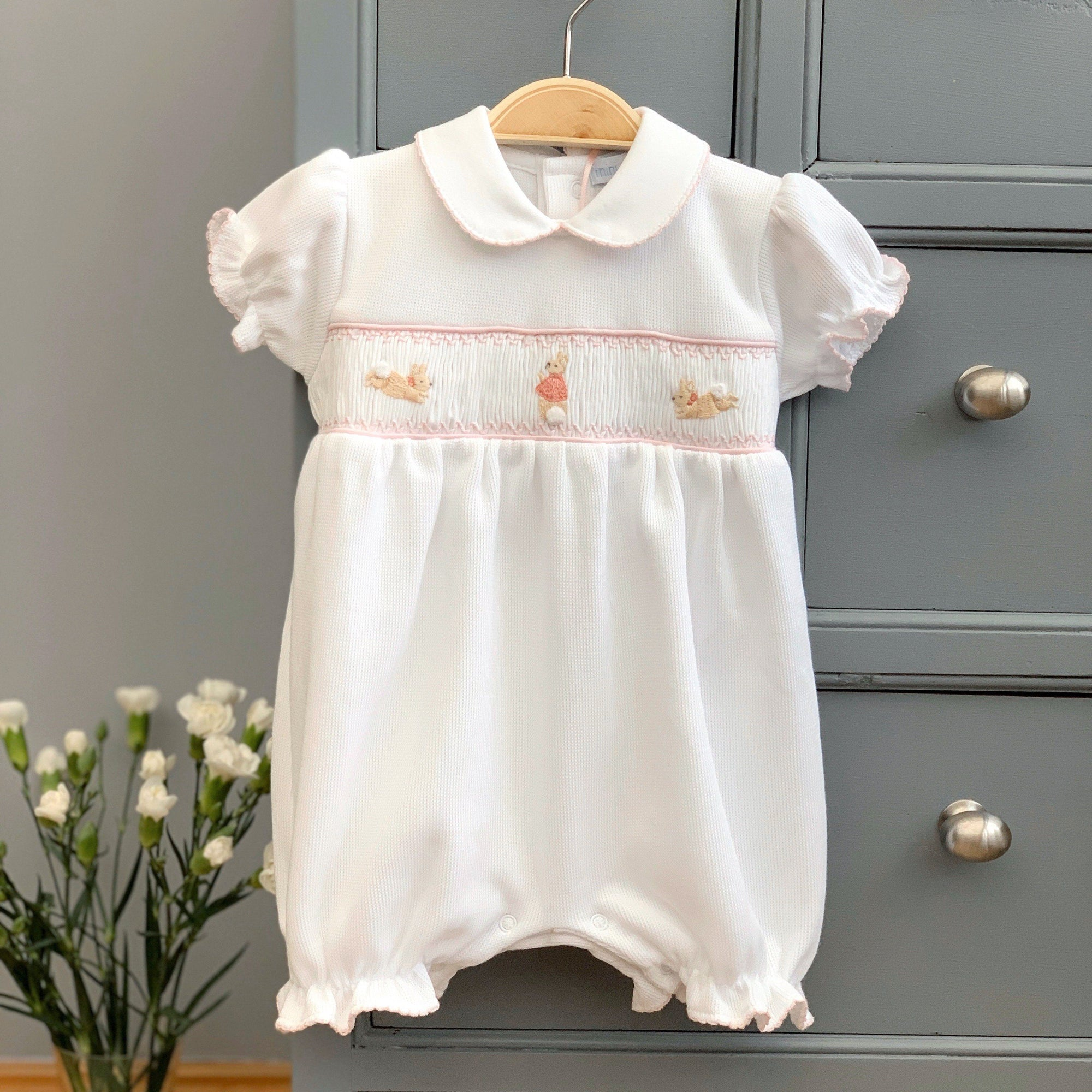The Flopsy Bunnies White Smocked Knit Romper