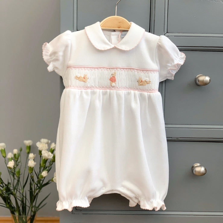 Mini-la-Mode The Flopsy Bunnies White Smocked Knit Romper | Millie and John