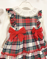 "A&J ""Thea"" Red Tartan Pinafore Dress & Blouse 