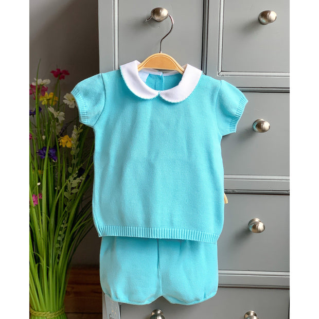 Granlei Turquoise Knitted Polo Shirt & Shorts | Millie and John