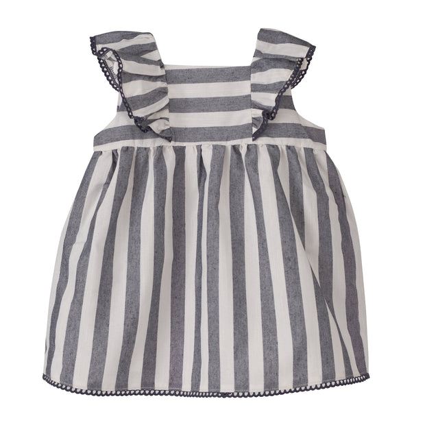 "Calamaro Excellentt ""Varadero"" Grey Striped Linen Dress 