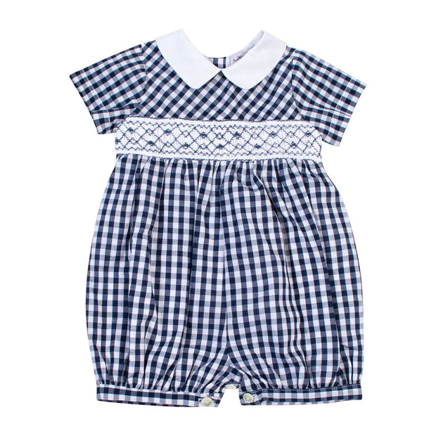 "Kidiwi ""Victor"" Navy Gingham Smocked Romper 