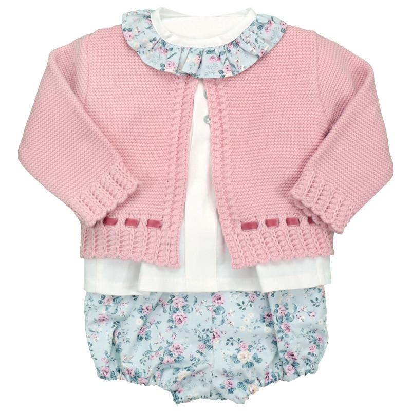 Baby-Ferr Vintage Floral Cardigan, Blouse & Bloomers | Millie and John