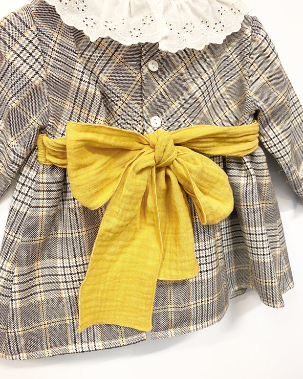"Paloma de la O ""Viola"" Grey & Mustard Tartan Dress and Knickers 