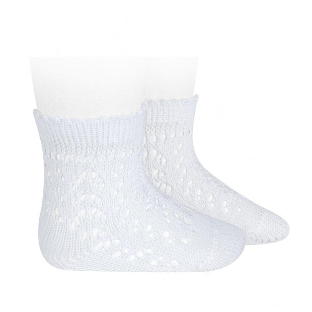 Condor White Ankle Openwork Socks | Millie and John