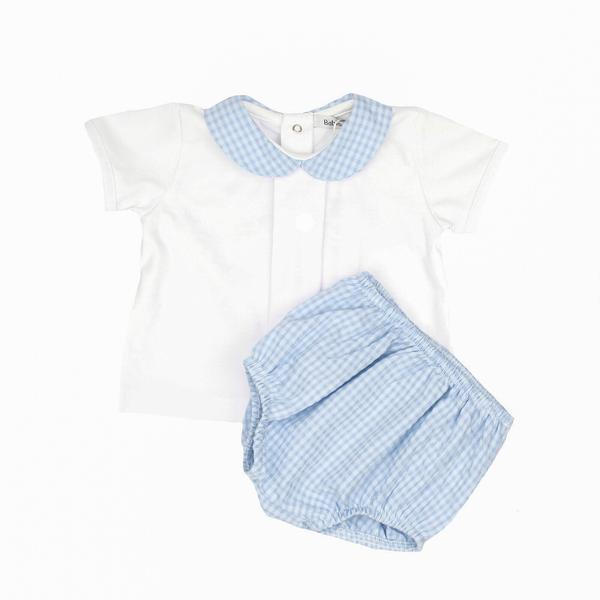 Babidu White & Blue Gingham Top and Jam Pants | Millie and John