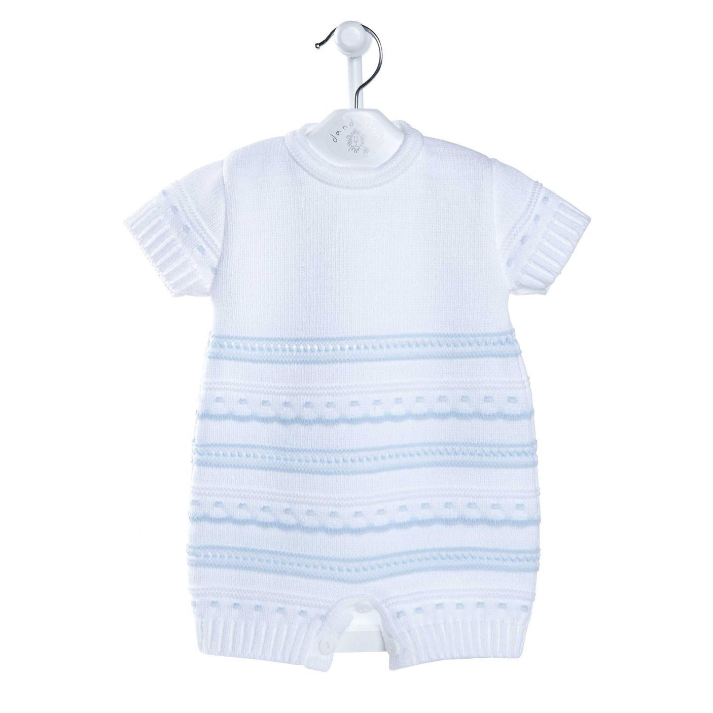 Dandelion White & Blue Knitted Pointelle Romper | Millie and John