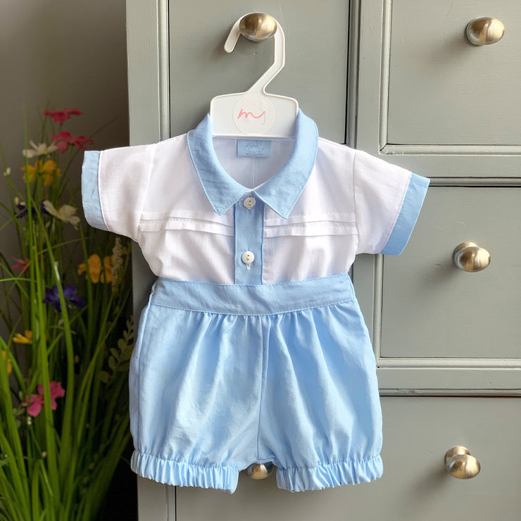 Rock-a-Bye Baby White & Blue Traditional Shirt and Shorts | Millie and John