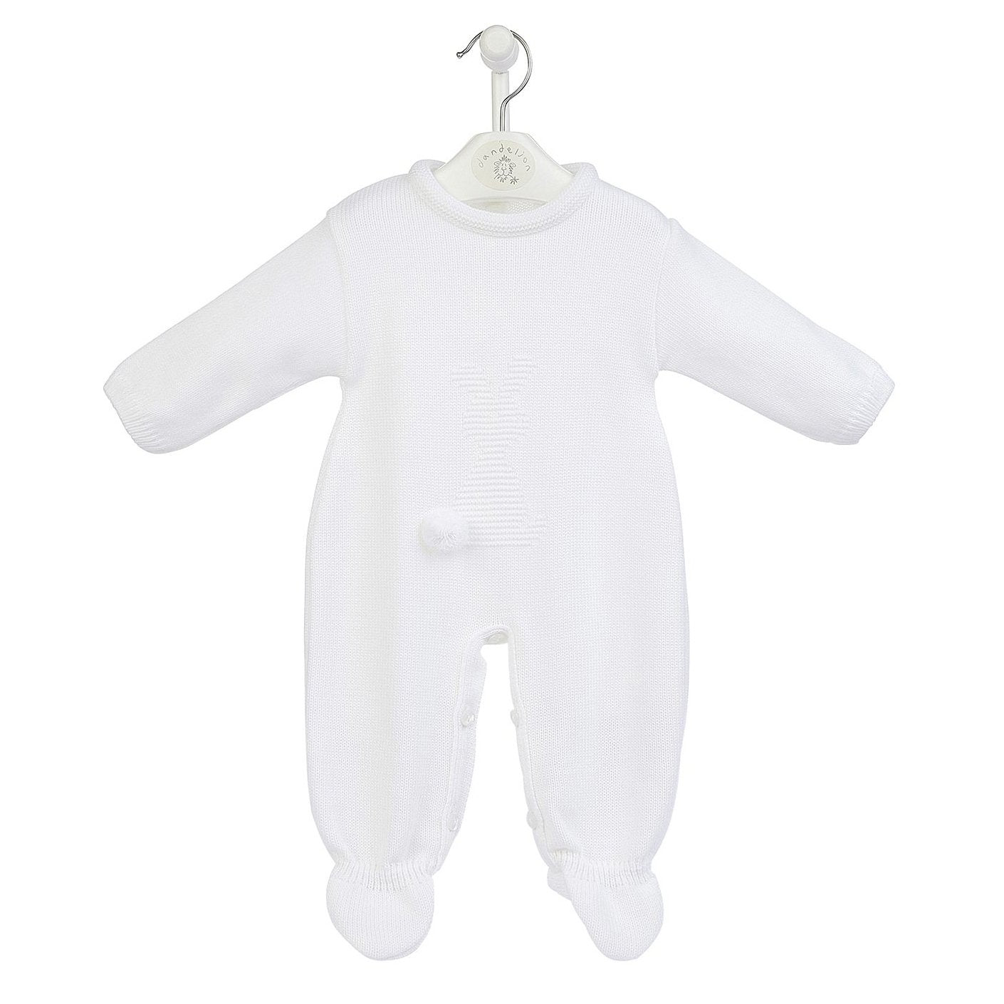 Dandelion White Bobtail Bunny Knitted Onesie | Millie and John