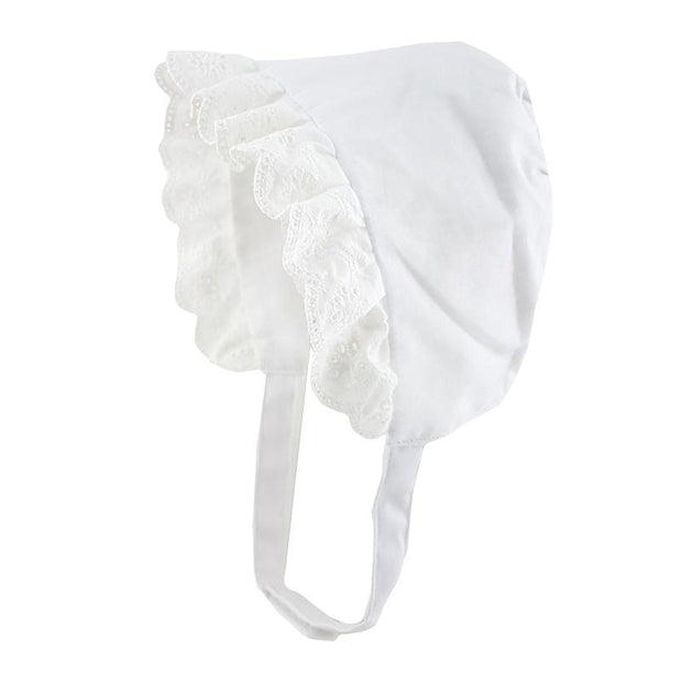 Pesci Baby White Broderie Anglaise Bonnet | Millie and John