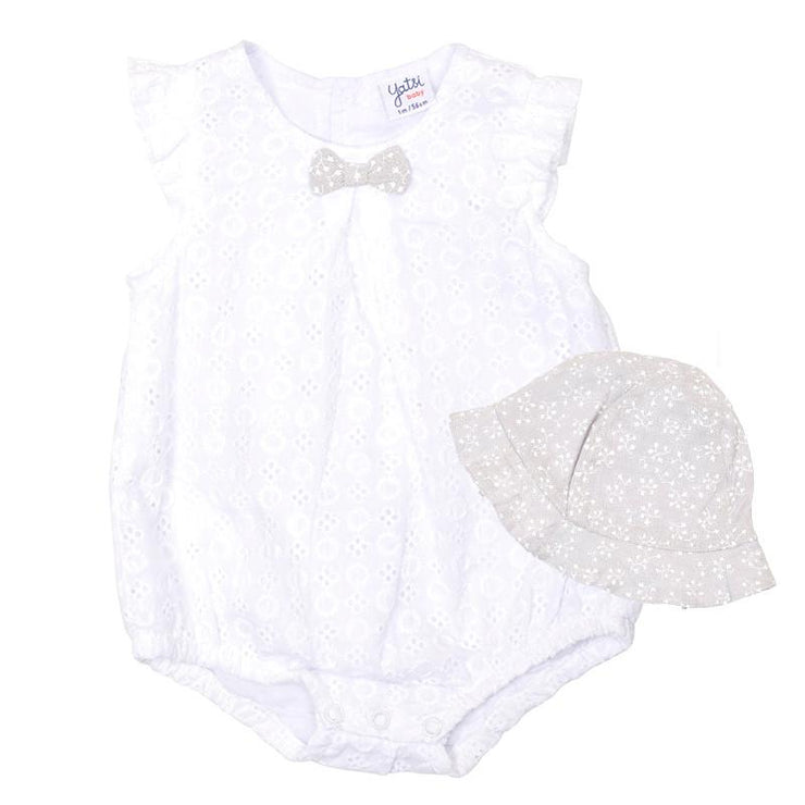 Yatsi White Broderie Anglaise Romper & Hat | Millie and John