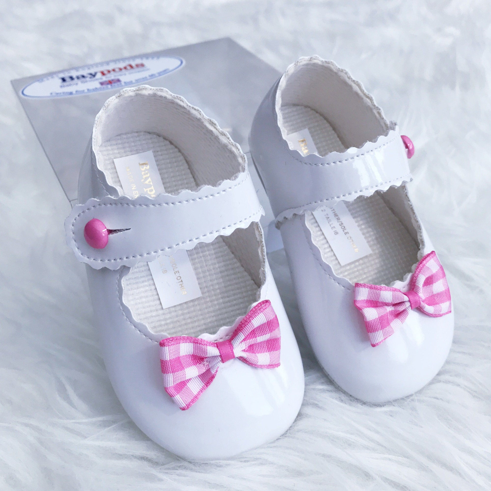 Baypods White & Cerise Gingham Bow Soft Sole Shoes | Millie and John