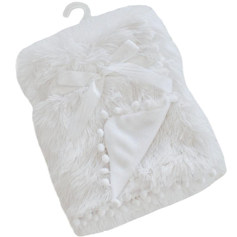 Soft Touch White Deluxe Faux Fur Blanket with Pom Poms | Millie and John