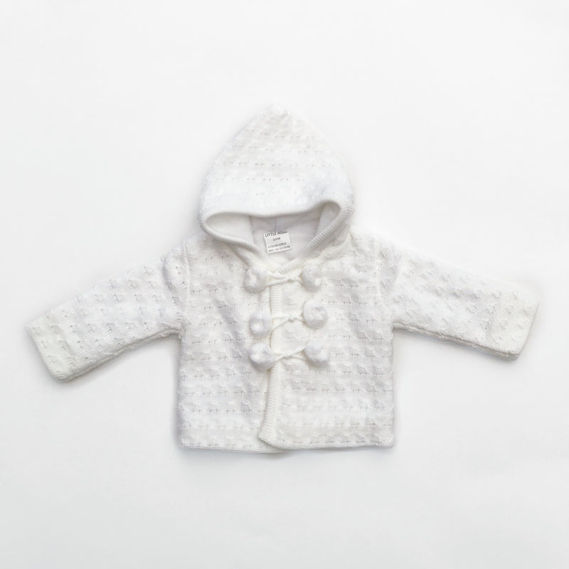 Little Nosh White Fleece Lined Knitted Hoodie | Millie and John