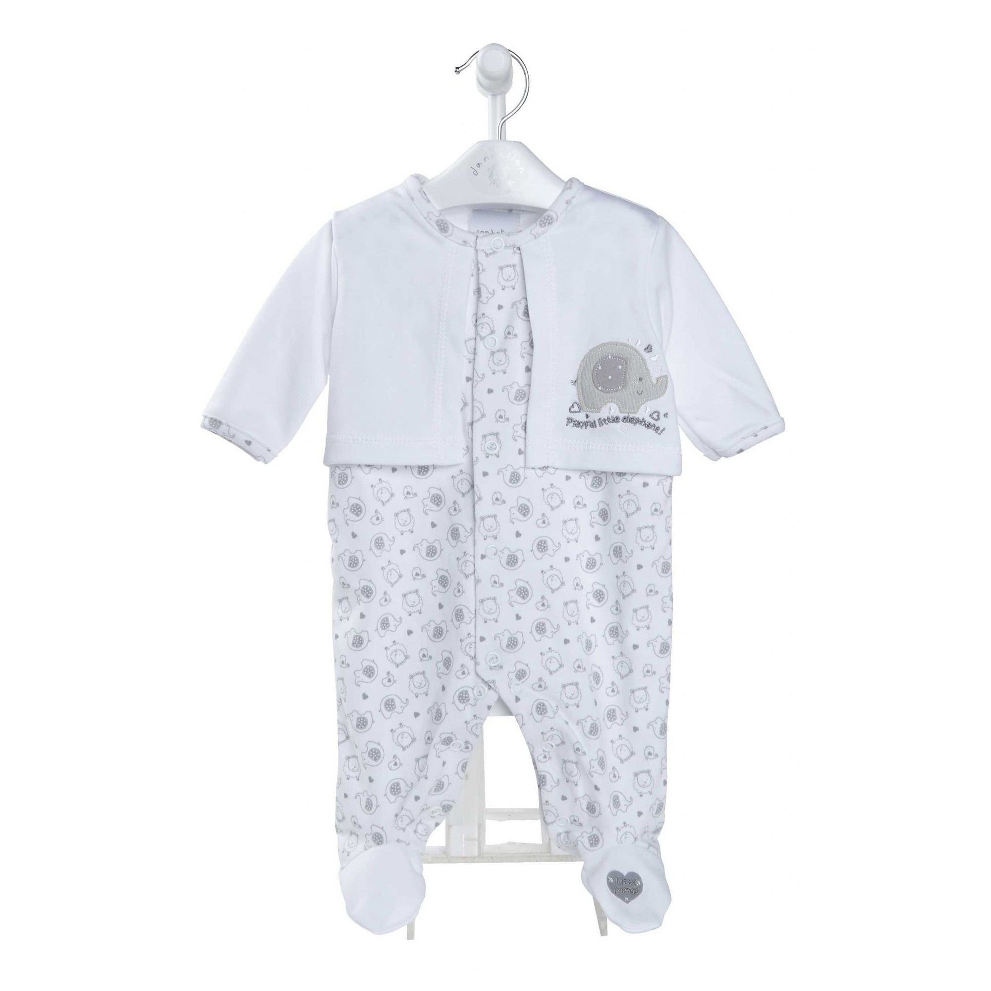 Dandelion White & Grey Animal Print Sleepsuit with Cardigan | Millie and John