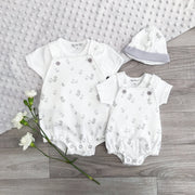My Little Chick White & Grey Duck Print Dungaree Romper Set | Millie and John