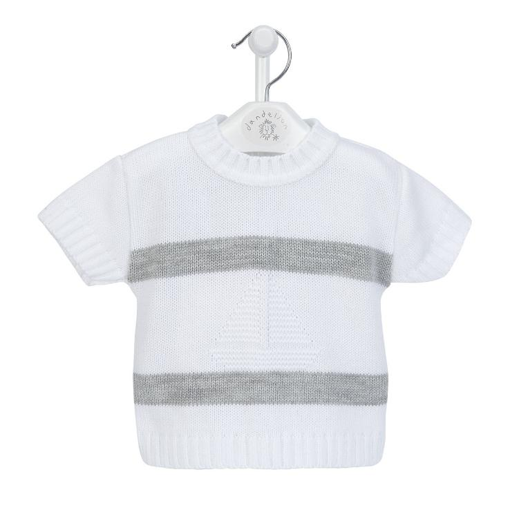 Dandelion White & Grey Knitted Sail Boat Top and Shorts | Millie and John