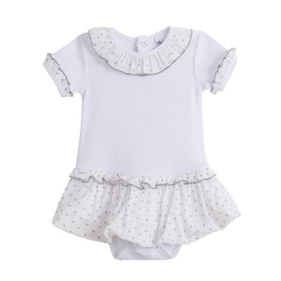 Newness White & Grey Polka Dot Tutu Bodysuit | Millie and John