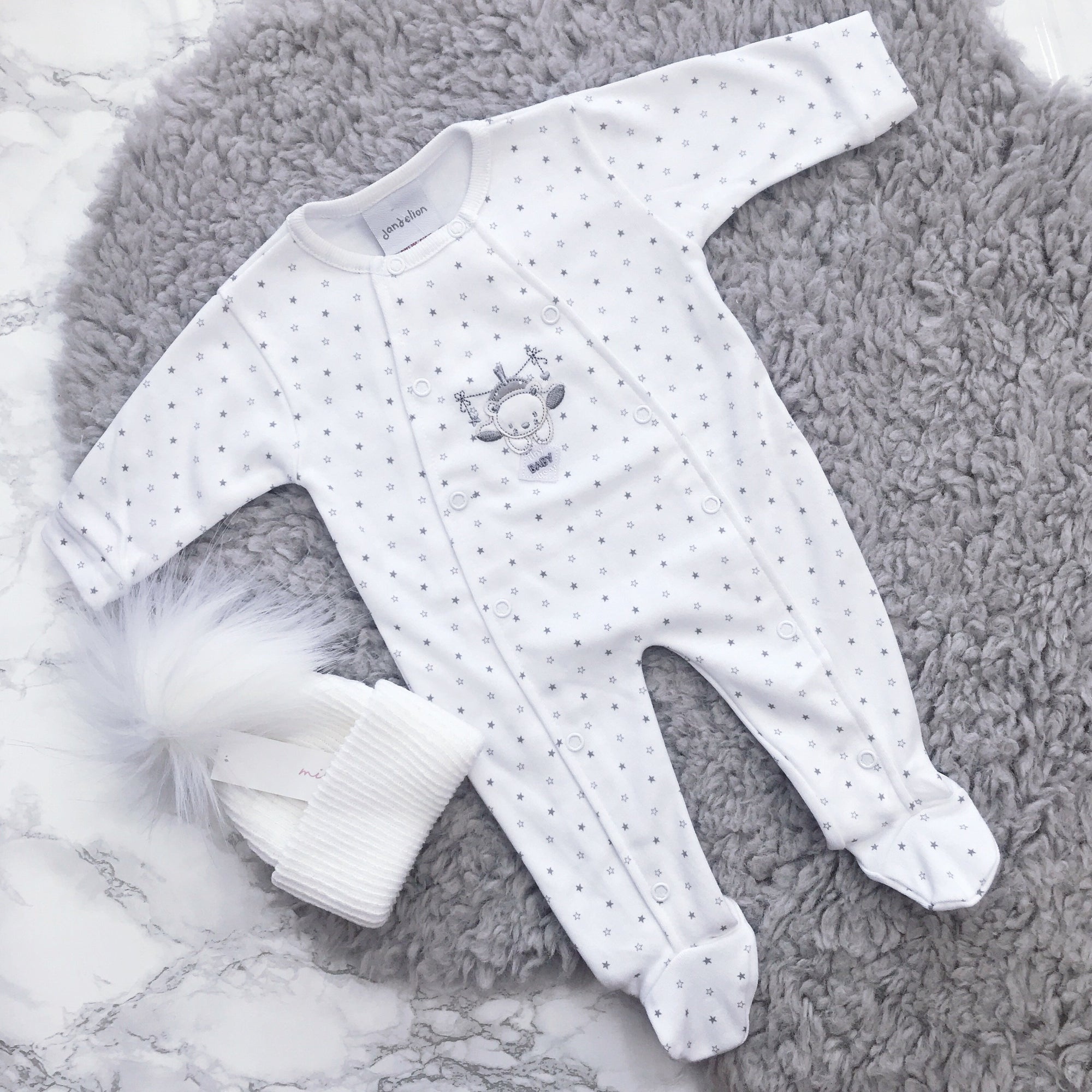 Dandelion White & Grey Star Print Sleepsuit | Millie and John