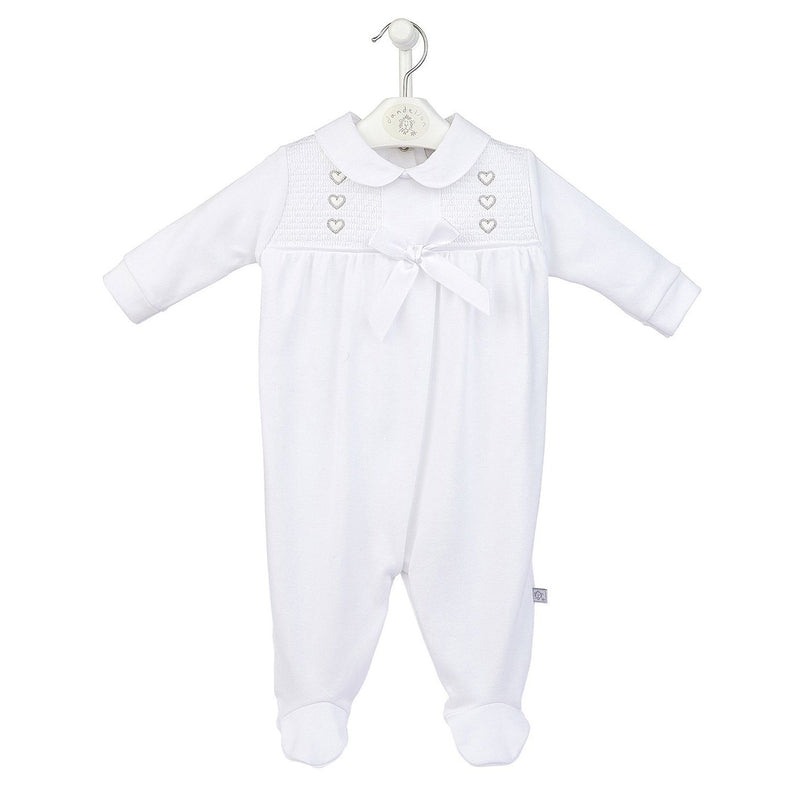 Dandelion White Heart Smocked Sleepsuit | Millie and John