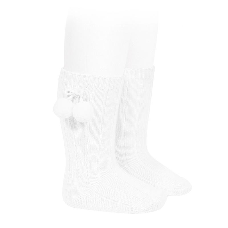 Condor White Knee High Pom Pom Socks | Millie and John