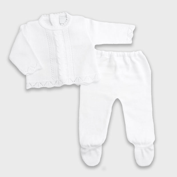 Dandelion White Knitted 2-Piece Set | Millie and John