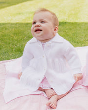 Dandelion White Knitted Pearl Button Coat | Millie and John
