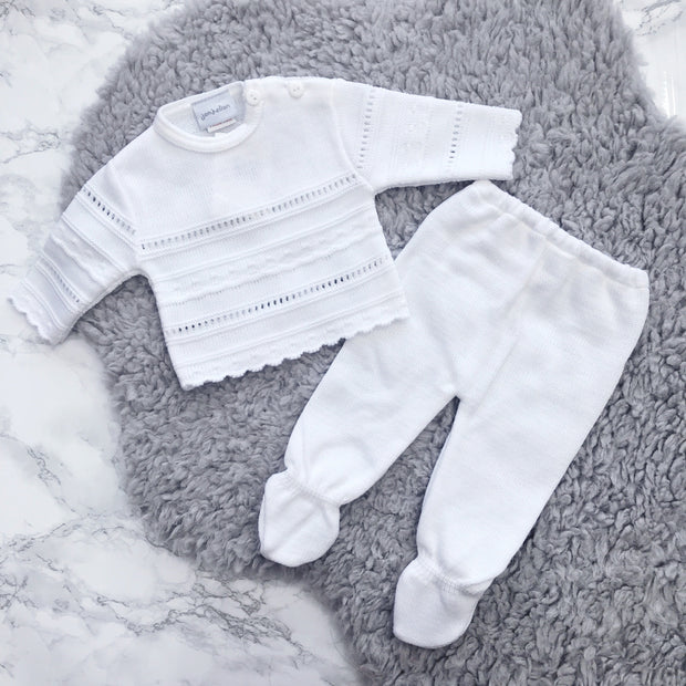Dandelion White Knitted Pointelle 2-Piece Set | Millie and John