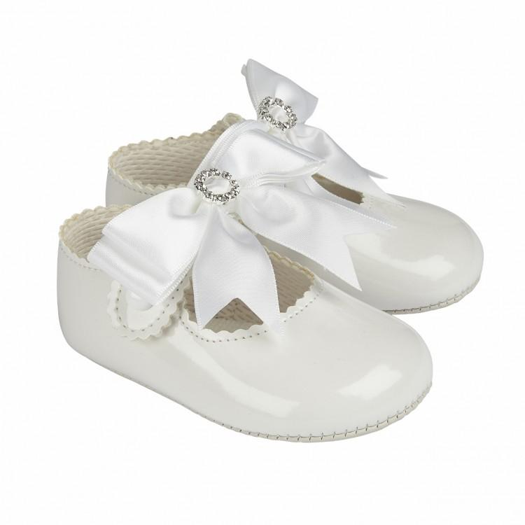 Baypods White Large Bow Diamanté Soft Sole Shoe | Millie and John