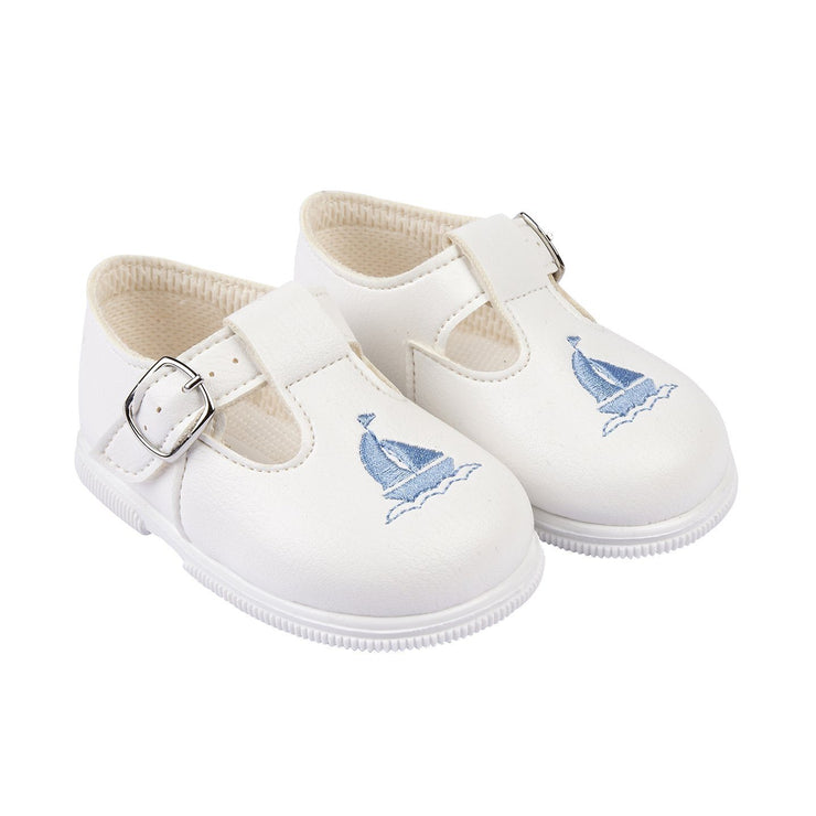 Baypods White & Light Blue Sailboat Hard Sole Shoes | Millie and John