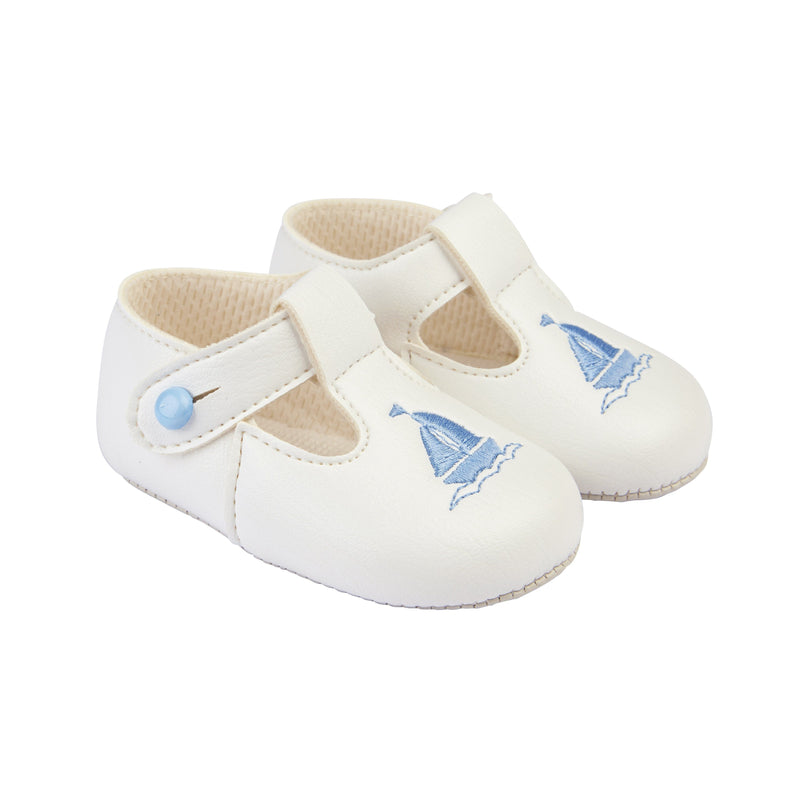 Baypods White & Light Blue Sailboat Soft Sole Shoes | Millie and John