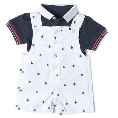 Babybol White Nautical Dungaree Romper Set | Millie and John
