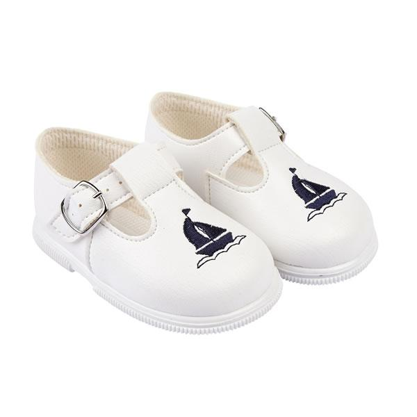 Baypods White & Navy Sailboat Hard Sole Shoes | Millie and John