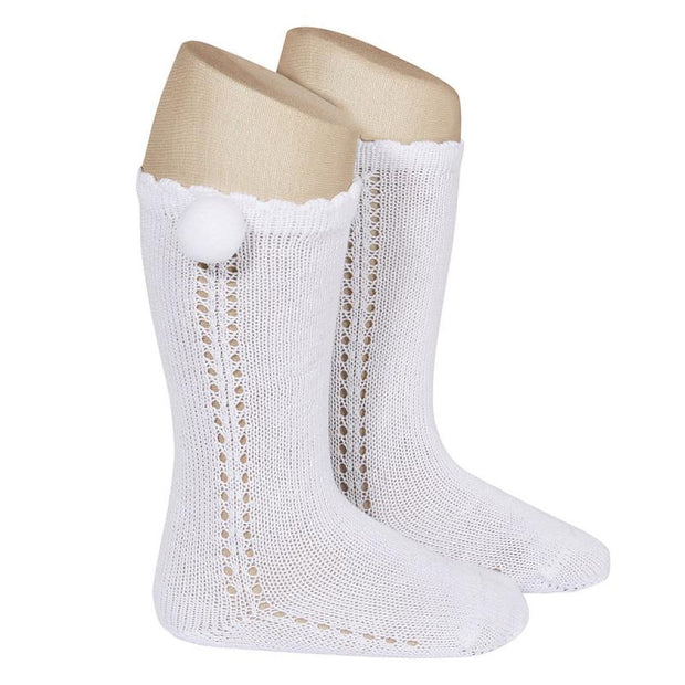 Condor White Openwork Pom Pom Socks | Millie and John