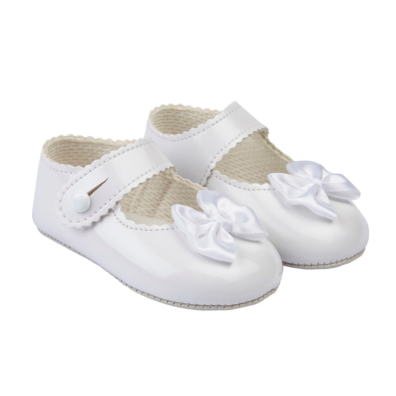 Baypods White Patent Bow Soft Sole Shoes | Millie and John